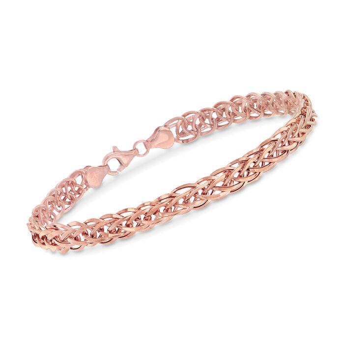14kt Rose Gold Wheat-Link Bracelet