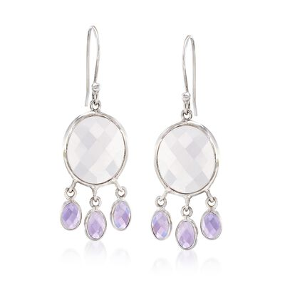 Rose Quartz and 4.50 ct. t.w. Amethyst Drop Earrings in Sterling Silver, , default