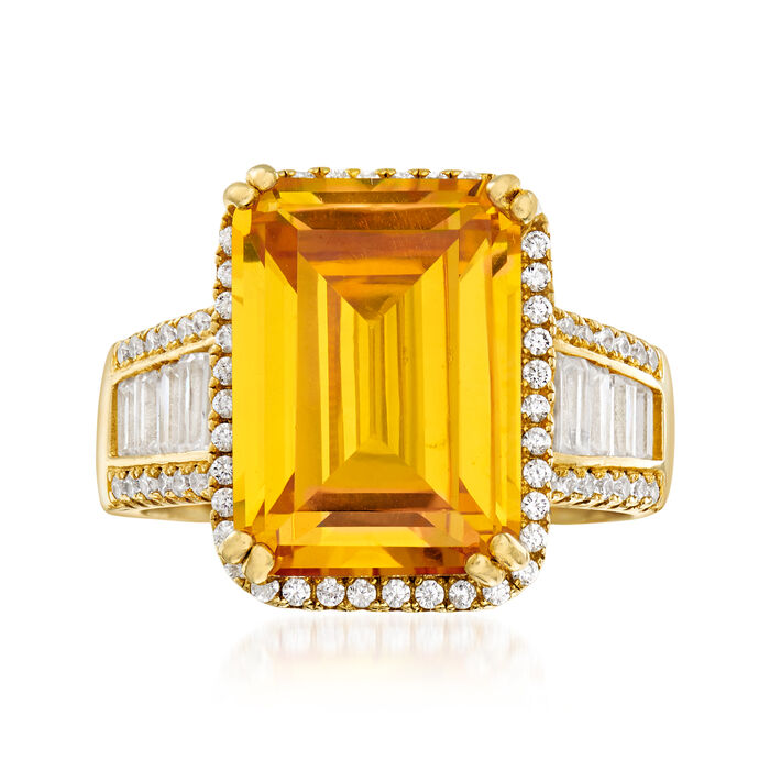 9.00 ct. t.w. Yellow and White CZ Ring in 18kt Gold Over Sterling