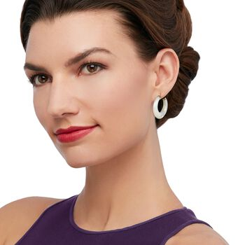"Mother-Of-Pearl Hoop Earrings in 14kt Yellow Gold. 1 1/8"", , default"