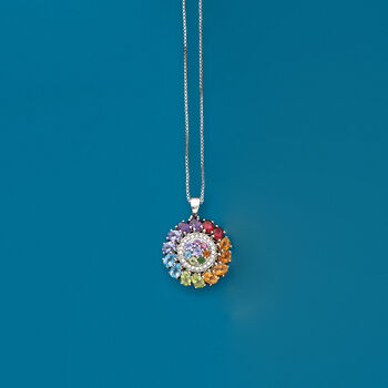 1.73 ct. t.w. Multi-Stone Pendant Necklace in Sterling Silver, , default