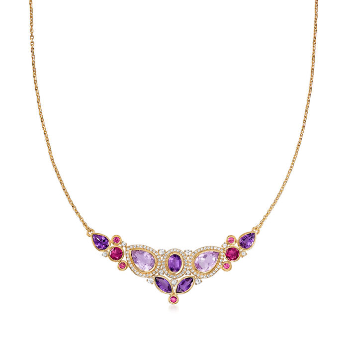 14.55 ct. t.w. Multi-Gemstone Collar Necklace in 18kt Gold Over Sterling