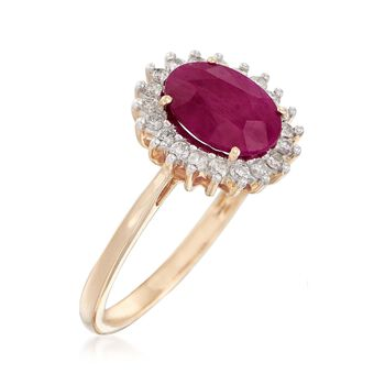 2.00 Carat Ruby and .24 ct. t.w. Diamond Ring in 14kt Yellow Gold