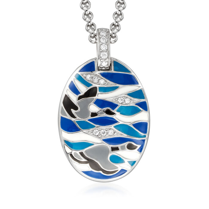 Belle Etoile Migration Enamel and .20 ct. t.w. CZ Pendant in Sterling Silver