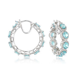 "6.25 ct. t.w. Apatite and 2.30 ct. t.w. White Zircon Hoop Earrings in Sterling Silver. 1"", , default"