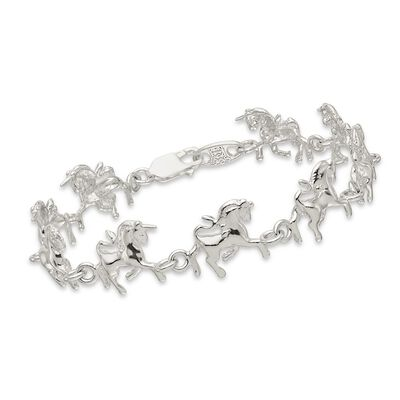 "Sterling Silver Polished Unicorns Bracelet. 7"", , default"