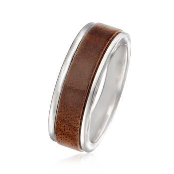 Men's 8mm Tungsten Carbide and Wood Center Wedding Ring, , default
