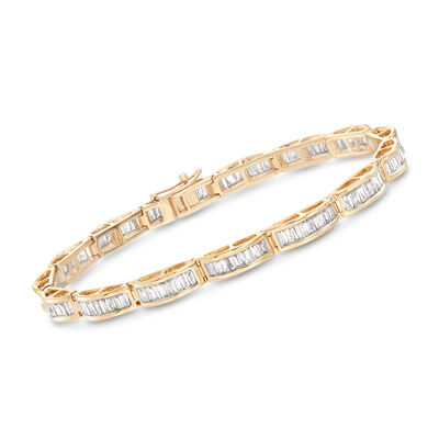 3.00 ct. t.w. Diamond Baguette Bracelet in 14kt Yellow Gold, , default