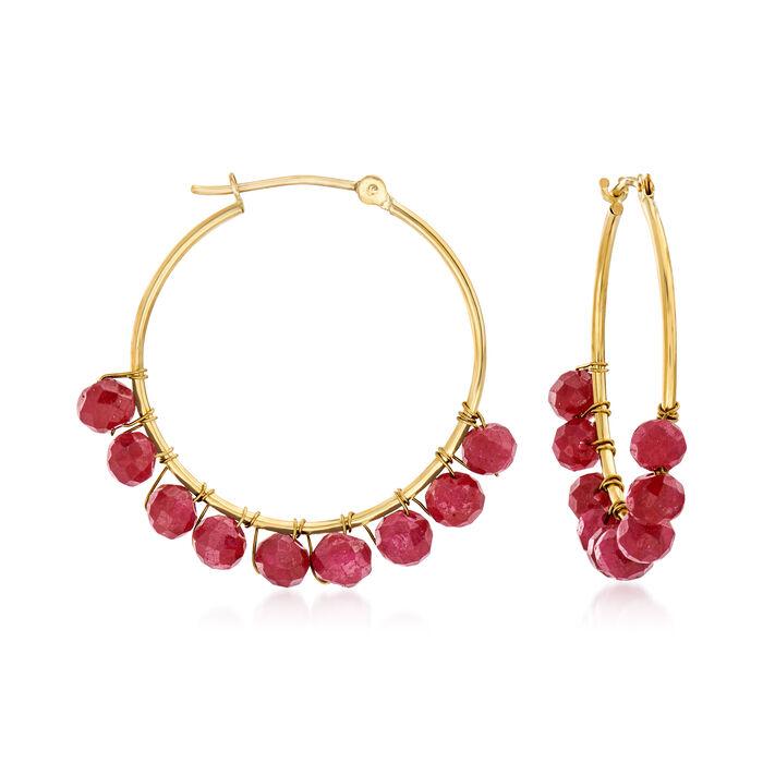 7.00 ct. t.w. Ruby Bead Hoop Earrings in 14kt Yellow Gold