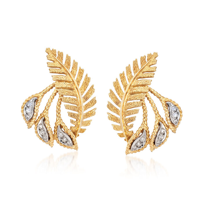 C. 1970 Vintage .20 ct. t.w. Diamond Leaf Clip-On Earrings in 18kt Yellow Gold