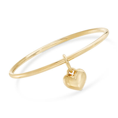 Italian Andiamo 14kt Yellow Gold Heart Charm Bangle Bracelet, , default