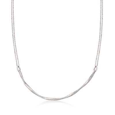 Italian Sterling Silver Twisted Double Chain Necklace, , default
