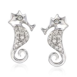 .11 ct. t.w. Diamond Seahorse Earrings in Sterling Silver, , default