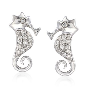 .11 ct. t.w. Diamond Seahorse Earrings in Sterling Silver, , default