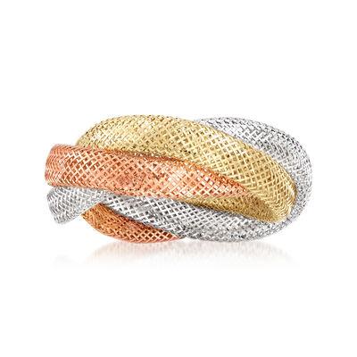 Italian 14kt Tri-Colored Gold Mesh Ring