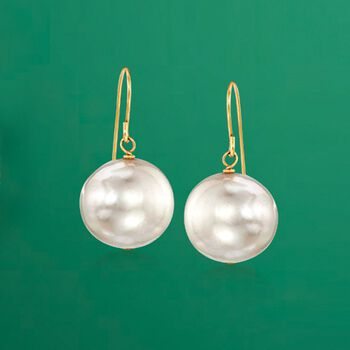 11mm Cultured Pearl Drop Earrings in 14kt Yellow Gold, , default