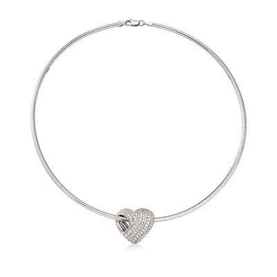 1.05 ct. t.w. CZ Sliding Heart Omega Necklace in Sterling Silver, , default