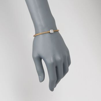 "ALOR ""Classique"" Yellow Cable Station Bracelet with Diamond Accent and 18kt White Gold. 7"""