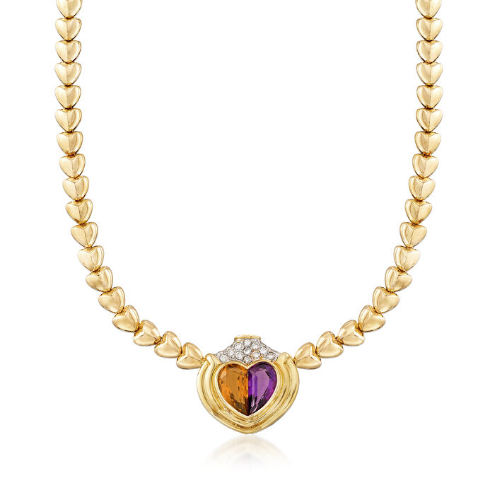 "C. 1980 Vintage 7.30 ct. t.w. Multi-Gemstone Heart Necklace in 18kt Yellow Gold. 15"", , default"