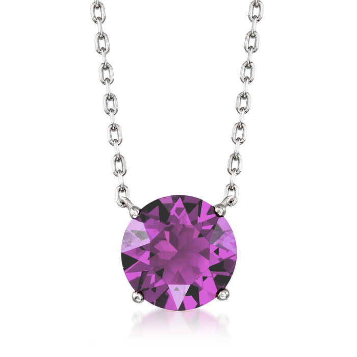 Jewelry Set: Purple Swarovski Crystal Necklace and Earrings in Sterling Silver