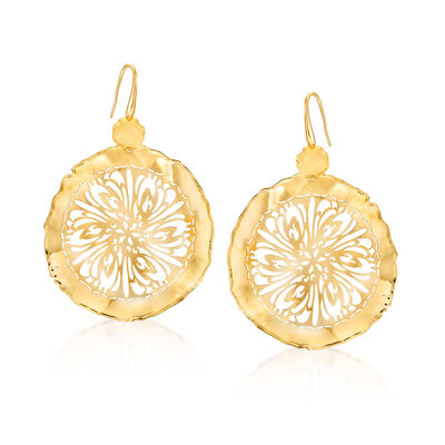 Italian 18kt Gold Over Sterling Floral Disc Drop Earrings, , default