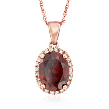 """2.30 Carat Garnet Pendant Necklace With Diamond Accents in 14kt Rose Gold. 18"""", , default"""