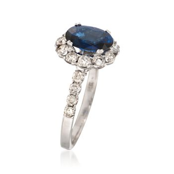 1.60 Carat Sapphire and .87 ct. t.w. Diamond Ring in 14kt White Gold, , default