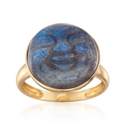Carved Labradorite Buddha Ring in 14kt Yellow Gold