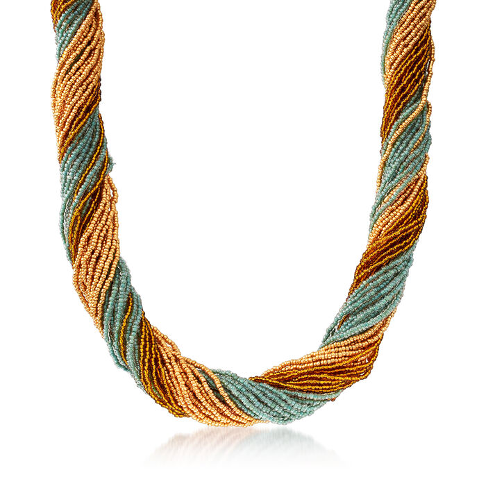 Italian Multicolored Murano Glass Bead Torsade Necklace in 18kt Gold Over Sterling