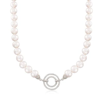 9.5-10.5mm Cultured Pearl Necklace with 1.30 ct. t.w. White Topaz Open-Space Circles in Sterling, , default