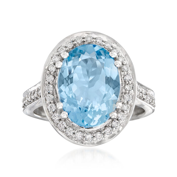 3.80 Carat Aquamarine and .44 ct. t.w. Diamond Ring in 14kt White Gold. Size 7, , default