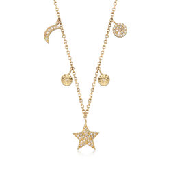 .15 ct. t.w. Diamond Star and Moon Necklace in 14kt Yellow Gold, , default