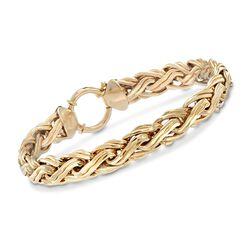 "14kt Yellow Gold Braided Link Bracelet. 7"", , default"