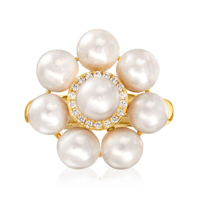 5.5-6mm Cultured Pearl Floral Ring with Diamond Accents in 14kt Yellow Gold