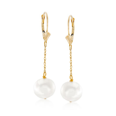 10-10.5mm Cultured Pearl Drop Earrings in 14kt Yellow Gold, , default