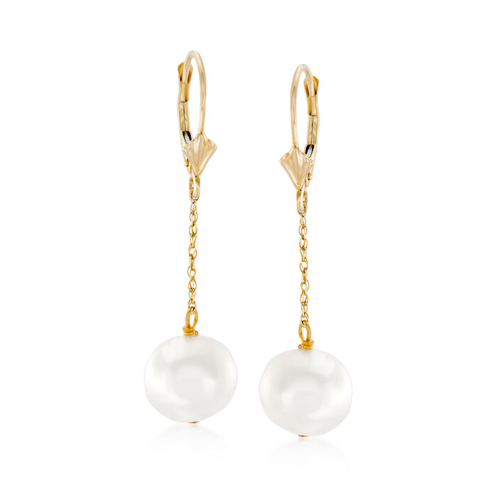 10-10.5mm Cultured Pearl Drop Earrings in 14kt Yellow Gold