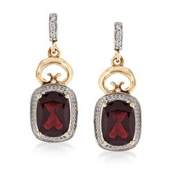 3.50 ct. t.w. Garnet Drop Earrings With White Zircon Accents in 14kt Yellow Gold, , default