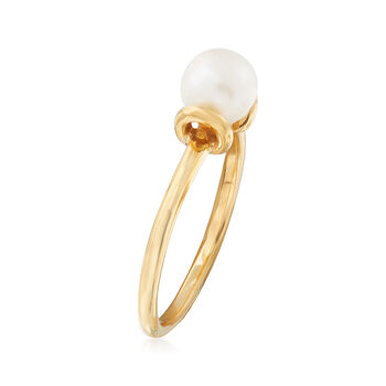 C. 1990 Vintage 6mm Cultured Pearl Ring in 14kt Yellow Gold. Size 6