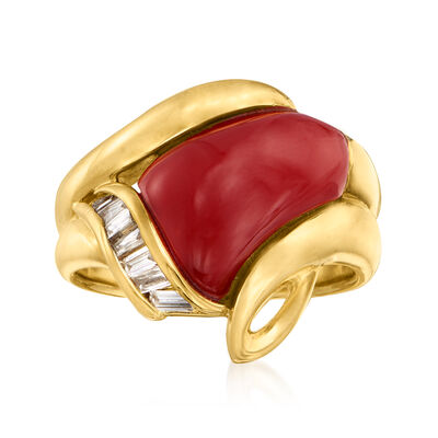 C. 1980 Vintage Red Coral and .20 ct. t.w. Diamond Ring in 18kt Yellow Gold