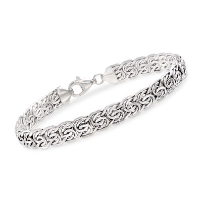 14kt White Gold Flat Byzantine Bracelet, , default