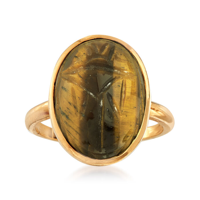 C. 1970 Vintage Tiger's Eye Scarab Ring in 14kt Yellow Gold. Size 6, , default