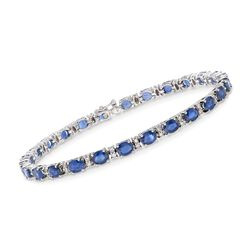 "10.00 ct. t.w. Sapphire and .70 ct. t.w. Diamond Bracelet in 18kt White Gold. 7"", , default"