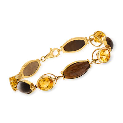 C. 1980 Vintage 17x8mm Tiger's Eye and 10.40 ct. t.w. Citrine Bracelet in 14kt Yellow Gold, , default