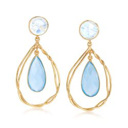 Blue Chalcedony and Moonstone Open Teardrop Earrings in 18kt Gold Over Sterling, , default