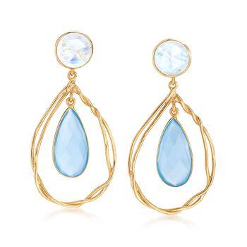Blue Chalcedony and Moonstone Open Teardrop Earrings in 18kt Gold Over Sterling, , default