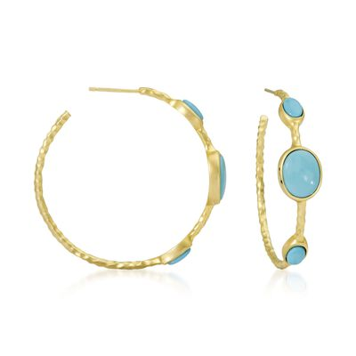 Turquoise Hoop Earrings in 14kt Gold Over Sterling Silver, , default