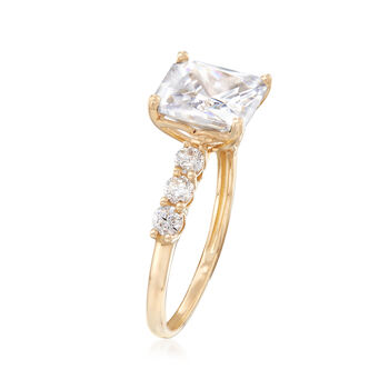 3.95 ct. t.w. Princess-Cut and Round CZ Ring in 14kt Yellow Gold, , default