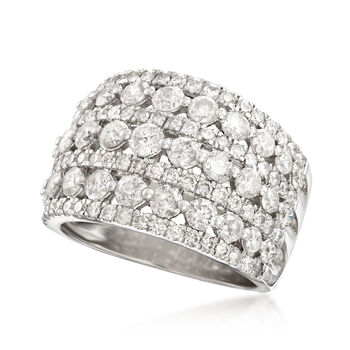 3.00 ct. t.w. Multi-Row Diamond Ring in Sterling Silver, , default