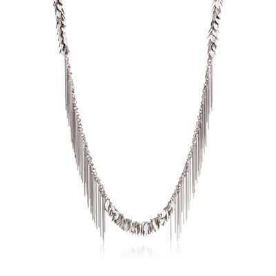 Italian Sterling Silver Leaf Fringe Necklace, , default