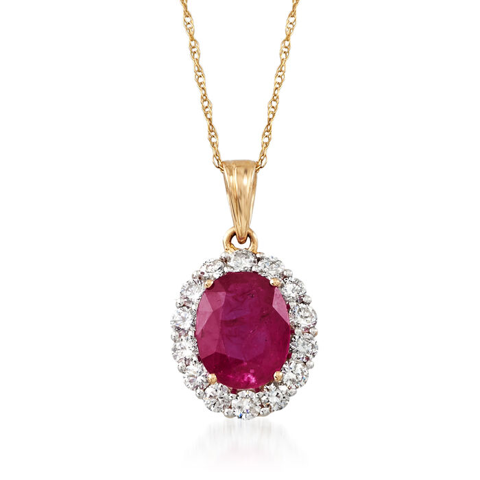2.00 Carat Ruby and .56 ct. t.w. Diamond Pendant Necklace in 18kt Yellow Gold